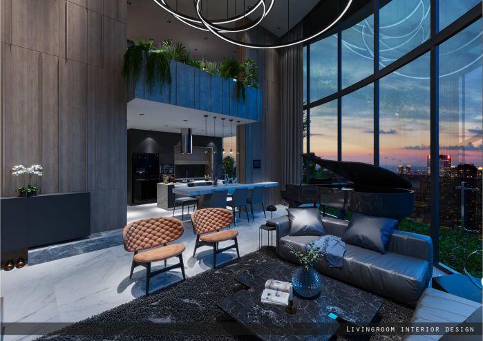 phòng khách căn hộ duplex dự án sunshine quận 7