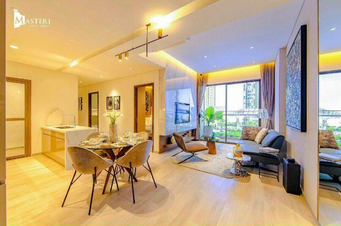 Phòng khách căn hô mẫu Masterise Centre Point
