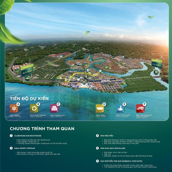 Aqua City được thiết kế bao gồm 7 phân khu chính